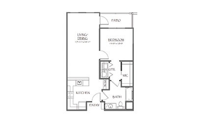 The Churchhill	 - 1 bedroom floorplan layout with 1 bath and 759 square feet
