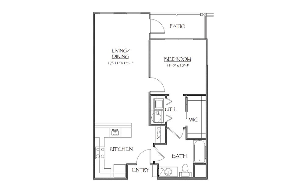 The Churchhill - 1 bedroom floorplan layout with 1 bath and 759 square feet (1st floor 2D)
