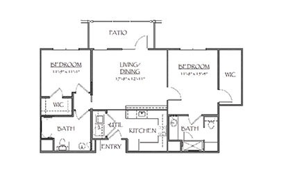 The Gladstone - 2 bedroom floorplan layout with 2 bath and 945 square feet