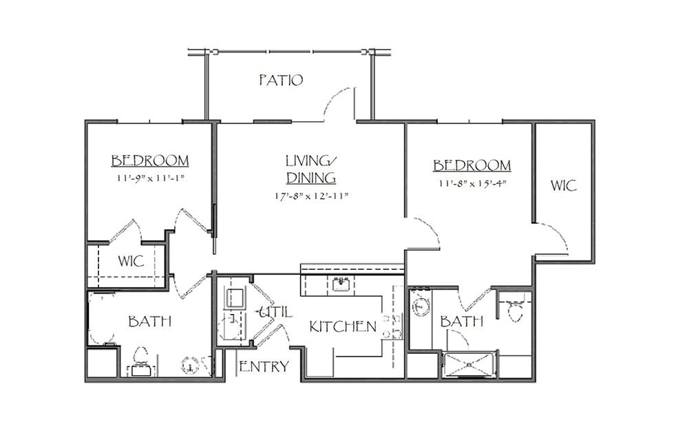 The Gladstone - 2 bedroom floorplan layout with 2 bath and 945 square feet (1st floor 2D)