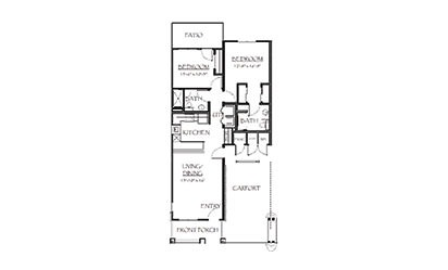 The Hampton - 2 bedroom floorplan layout with 2 bath and 983 square feet