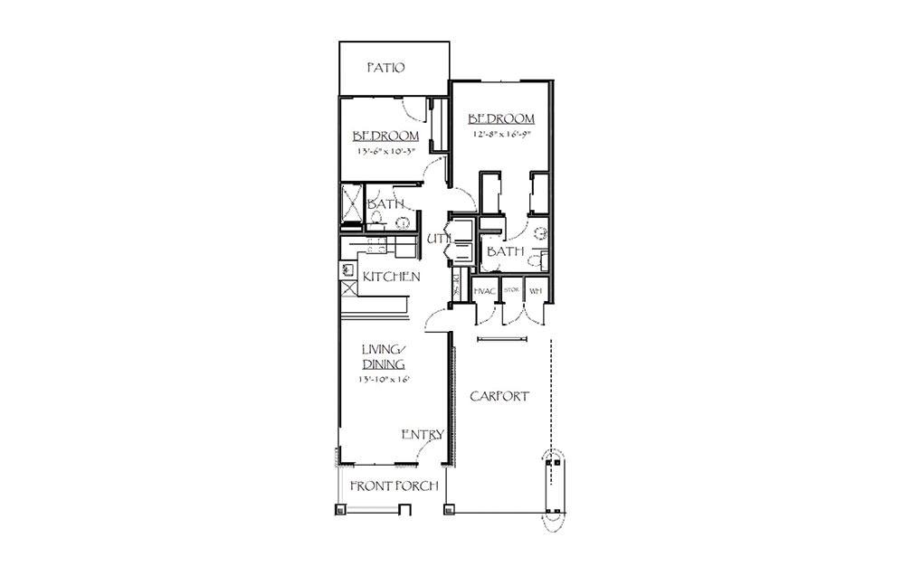 The Hampton - 2 bedroom floorplan layout with 2 bath and 983 square feet (1st floor 2D)