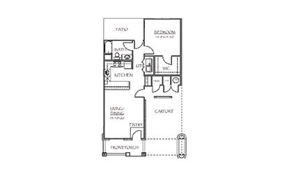 The Madison - 1 bedroom floorplan layout with 1 bath and 824 square feet