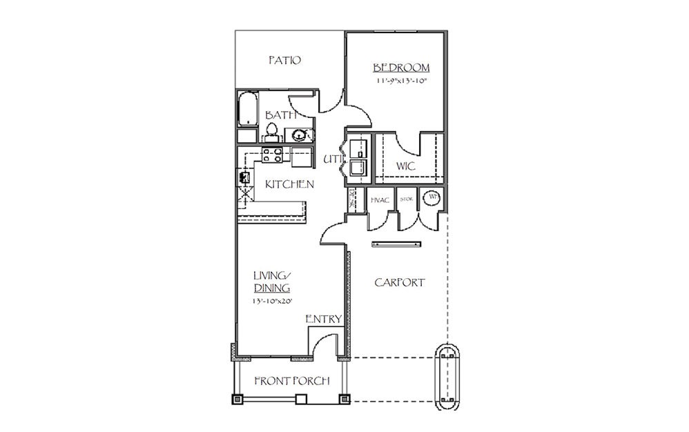 The Madison - 1 bedroom floorplan layout with 1 bath and 824 square feet (1st floor 2D)
